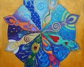 Goddess Wheel of the Year Mandala - A4 Print