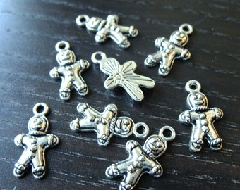 Destash (8) Christmas Gingerbread Man Cookies Charms - for pendants, jewelry making, crafts, scrapbooking