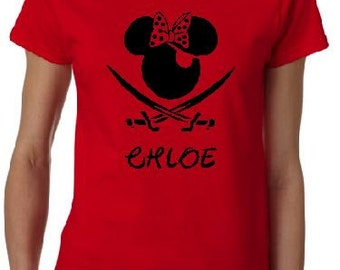 Pirate Minnie with Bow T-shirt for the Family -  Infants Adult  Ladies Girls with Name on Front
