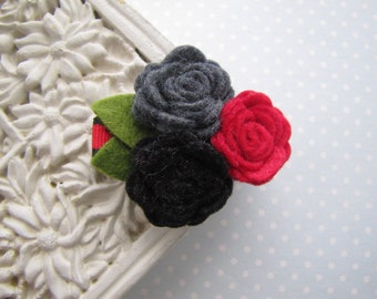 City Chic . clippie . felt flower cluster . girls hair accessory . red charcoal black