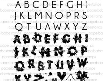 Watercolour Alphabet Capitals Stamp Set - Paperbabe Stamps - Clear Photopolymer Stamps - For paper crafting and scrapbooking.