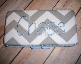 Personalized Travel Baby Wipe Case - Chevron / Zig Zag - You design it
