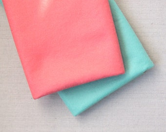 Coral & Seafoam // Wool Blend Felt // Benzie // Custom Dyed Colors, Exclusive Colors, Felt Yardage, Wool by the Yard, Wool Blend Felt