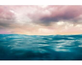 Ocean photography Summer, Modern Decor Abstract, Minimal, Azure, Ink Blue, Magenta, Peach, Modern Decor, Sunset - Beyond The Sea