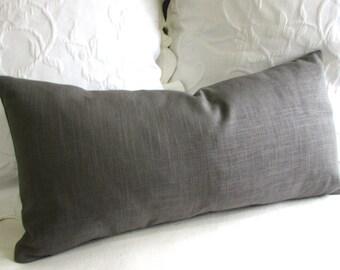GRAY LINEN  accent lumbar Bolster Pillow 13x26 insert included