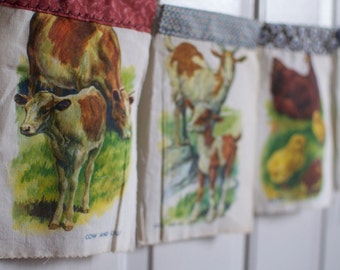 Vintage Farm Animals Cloth Book Wall Hanging