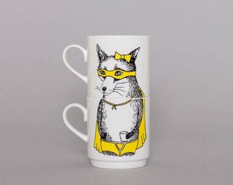 Bandit Fox Stackable Tea Mugs