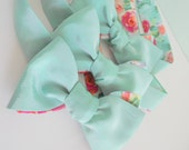Mint Haze Bow Tie with Floral Reverse