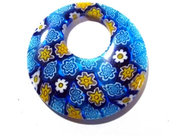 40mm GLASS Millefiori Donut Pendant Millefiori FLOWERS Blue Yellow Glass Donut Pendant 40mm Large Glass Focal Jewelry Supplies (S163)