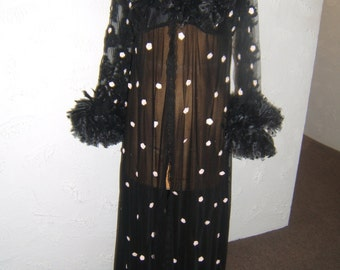 Black French Lace and Illusion Burlesque Dressing Robe-Size 12-14