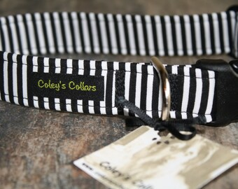 "Dog Collar ""The Walter"" Black and White striped Dog Collar"