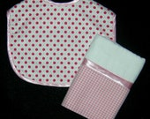 Quality Infant Velcro Pink/Red Dots Bib with Coordinating Burp Cloth  / 1  Bib / 1 Burp Cloth Set