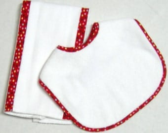 Quality Infant Velcro Embroidery Blank Bib with Coordinating Burp Cloth  / 1  Bib / 1 Burp Cloth Set