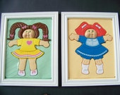 "Vintage Cabbage Patch Girls Wall Decor - 1980's Reclaimed Puzzles - Cute Set of 2 - 10""x 13"" Kid's Decor - Red Hair & Brown Hair - Framed"