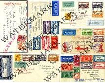 Postage Envelopes - Air Mail - Vintage Stamps- New Zealand - SCRAPBOOK EPHEMERA Reproductions Set 188 - Collage - Decoupage - Embellishment