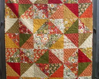 Warm Spicy Quilt Allure Fall Autumn Throw Handmade Quilted Blanket Quiltsy Handmade FREE U.S. Shipping