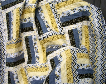 Owl Lap Quilt or Baby Toddler Yellow Gray Black White Patchwork Handmade