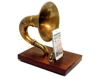 The Horn-A-Phone - iHorn -- Brass  Acoustic  Speaker Upright Horn Dock -- Acoustic Speaker System Docking Station  ,Walnut - Handle Backrest