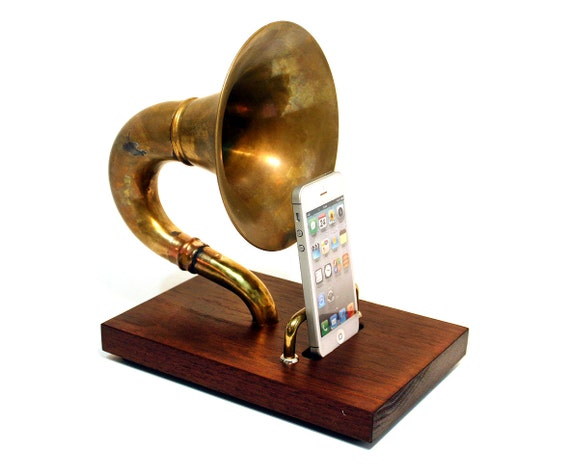 The Horn-A-Phone - iHorn -- Brass  Acoustic  Speaker Upright Horn Dock -- Acoustic Speaker Docking Station  ,CHERRY only- Handle Backrest