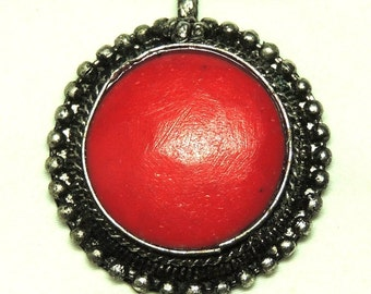 Red Coral Silver Pendant Vintage Jewelry