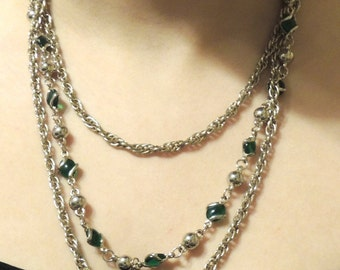 Multi Strand Layered Vintage Necklace Green Gold Vintage Jewelry