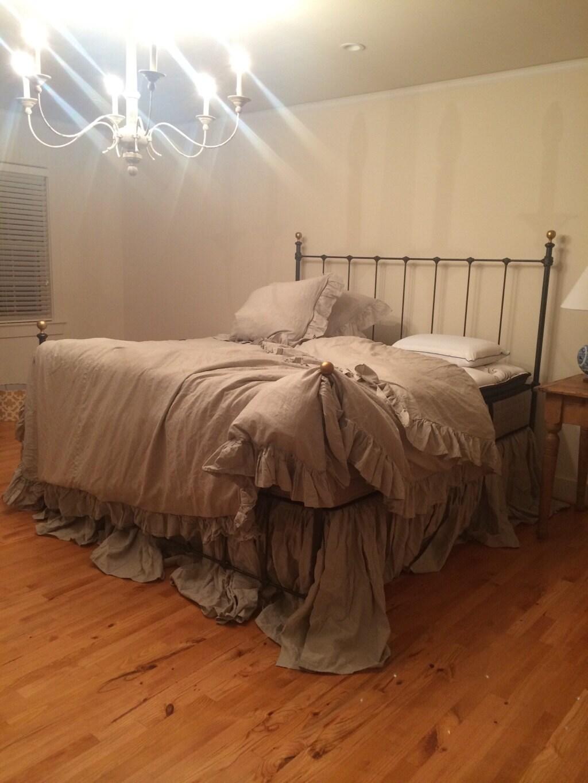 king ruffled duvet gathered extra long bed skirt pair of king. Black Bedroom Furniture Sets. Home Design Ideas
