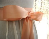 Peach wedding sash, bridal sash, bridesmaid sash, bridal belt, 1.5 inch satin ribbon