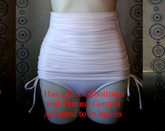 High Waist Tummy Control Bottoms with Adjustable length skirt in White