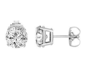 Platinum Diamond Stud Earrings 0.90 Carat HandMade Certified