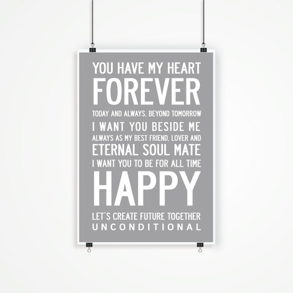 LOVE FOREVER - Lovely Inspiring Typographic Design. A2, 42x59.4cm, large luxury poster print.