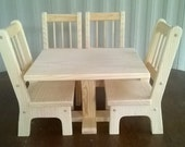 Handmade Rectangle Table and 4 Chairs for 18 inch Doll