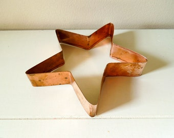 Vintage Copper Cookie Cutter, Large Star Shape