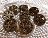 Vintage Italian Buttons ~ Brass Metal Browns ~ Art Nouveau ~ Made in Italy ~8 in lot - Metal Loop Shank ~ 22mm ~ Pierced, Spirals, Swirls