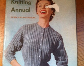 SALE 1952 Knitting Annual 56 knitwear designs very cool old pattern book