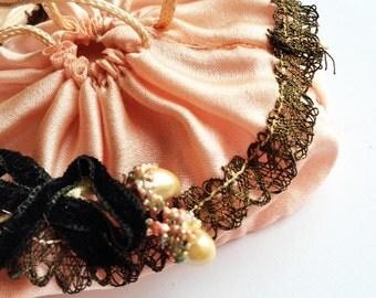 Antique Silk Purse Flapper Powder Puff Dance Purse Mirror