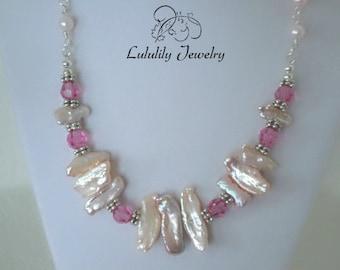 Biwa Pearls, Biwa Pearl Necklace with Swarovski Crystal, Pink Necklaces, Crystal Necklaces, June Birthstone Necklace