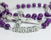 Personalized Rosary in Purple & Silver