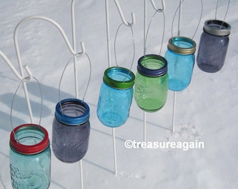 Hanging Color Mason Jar Lids DIY Garden Lights, Hanging Outdoor Lighting or Flower Vase, No Jars