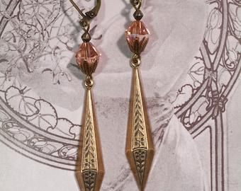 Art Deco Jewelry - Miss Fisher Earrings - 1920s Jewelry - Art Nouveau Jewelry - Downton Abbey - Long Dangle Earrings - Womens Jewelry