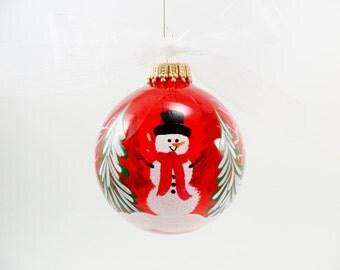 Snowman Ornament Hand Painted Glass Winter Scene