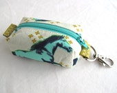 Boxy Little Pouch Key Chain, Lobster Clasp - Aqua Mustangs