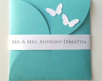 6 1/4  x 6 1/4 Petal Butterfly Wedding Invitation