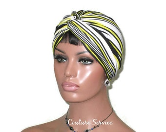 Yellow Turban, Handmade Women's Fashion, Twist Turban, Black, White, Stripe