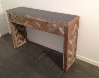 Reclaimed Wood and Steel Console Table