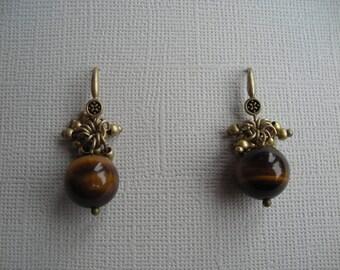 Vintage Genuine Tigereye with Brass Dangle Earrings