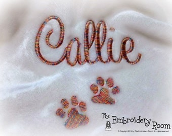 Personalized Paw Print Pet Blanket with variegated thread