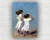 Beach Wall Art - White - Beach Art - Ready to Hang Gallery Block Print from Original Oil Painting - Two Girls
