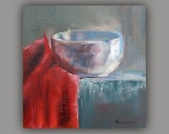 Fine Art Canvas Painting - Oil Painting Still Life with Bowl - Original Painting Canvas Art by Carrie Venezia- White, Gray, Red