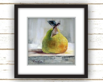 Pear with Two Leaves Painting Print - Original Fine Art Still Life Painting Print
