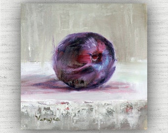 Plum Painting Print of Still Life Oil Painting Home Decor Wall Art - Unique Kitchen Food Room Decor, Cottage Style Dining Room Art Print